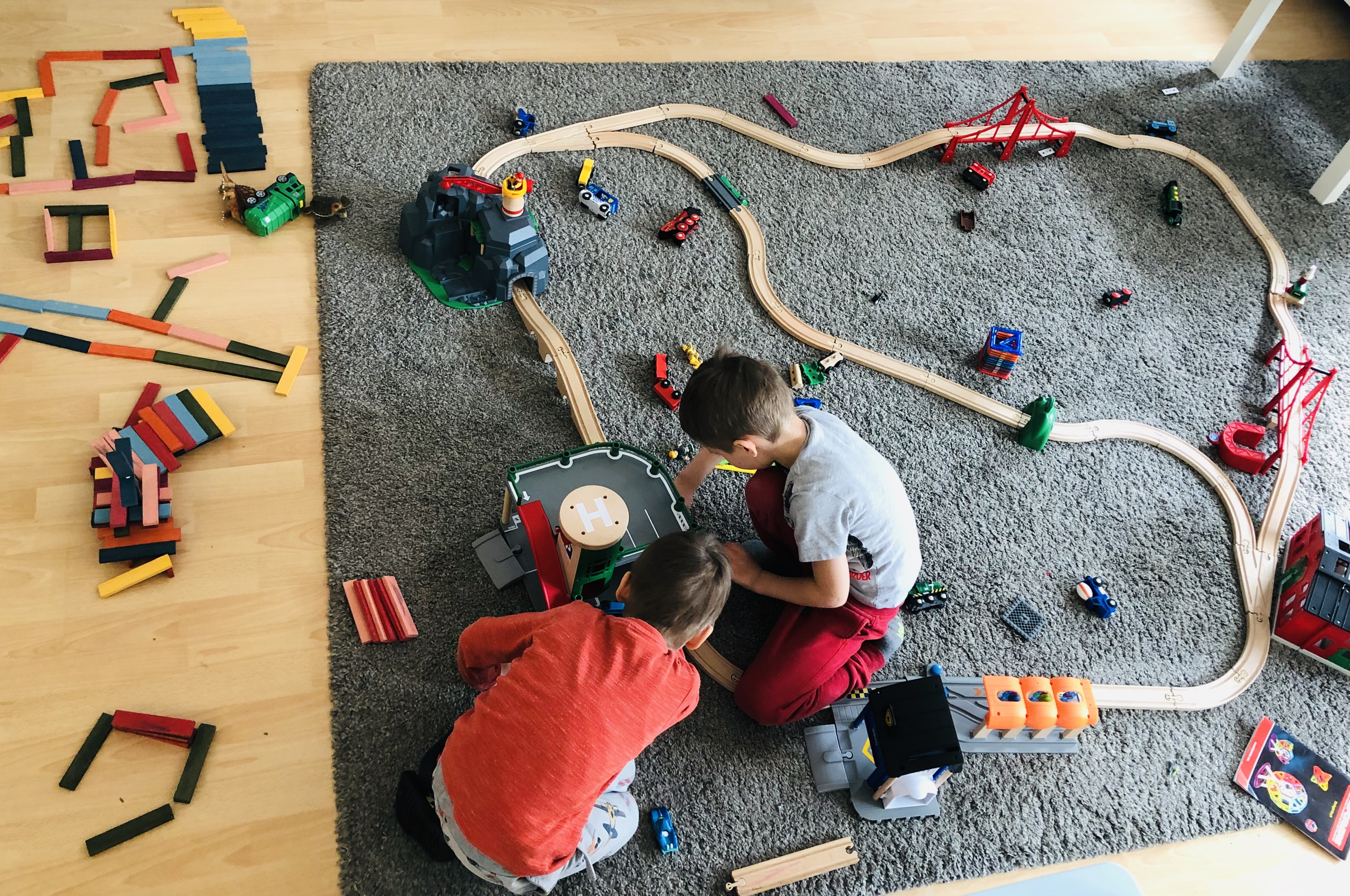 kids playing with many toys