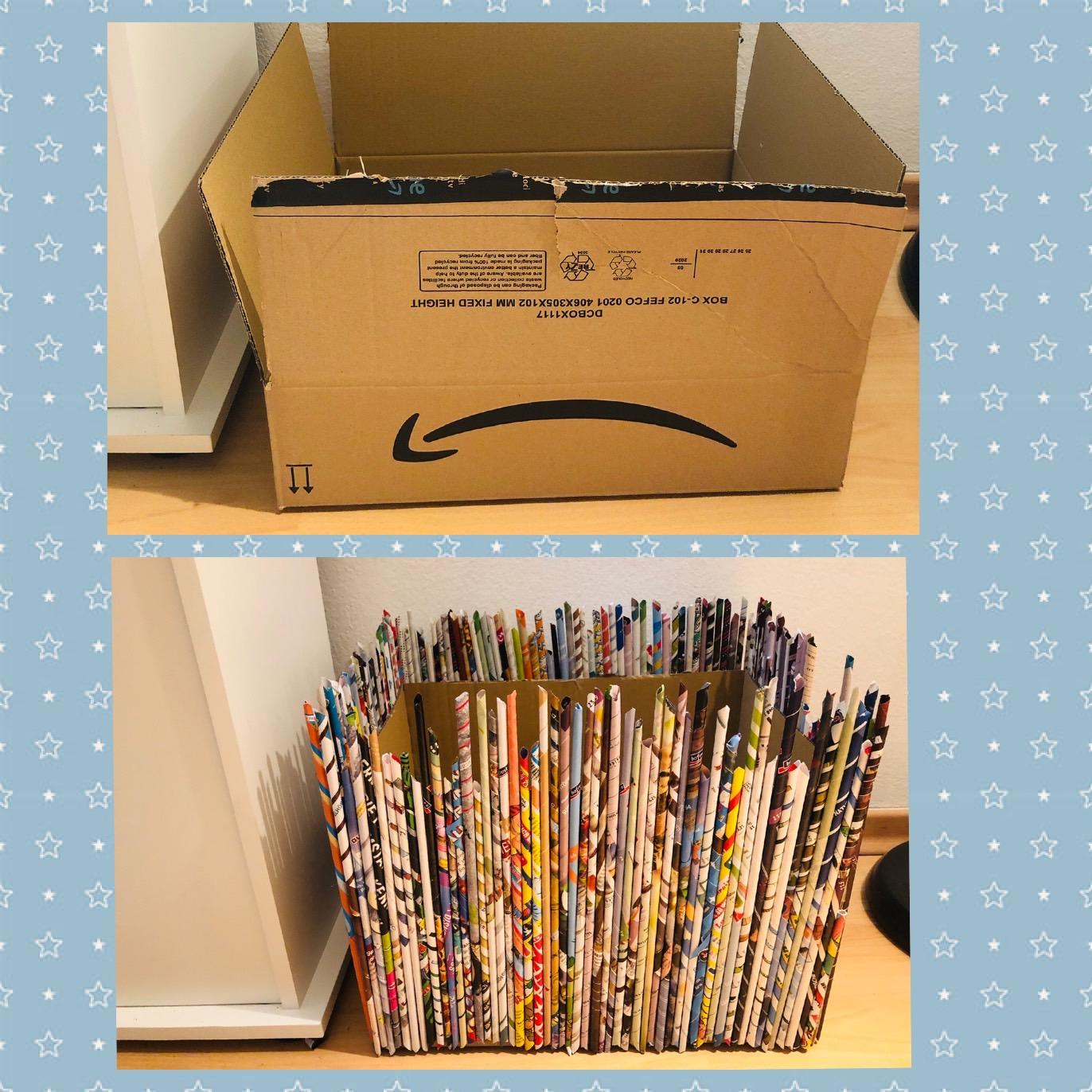 old vs new cardboard box - upcycling