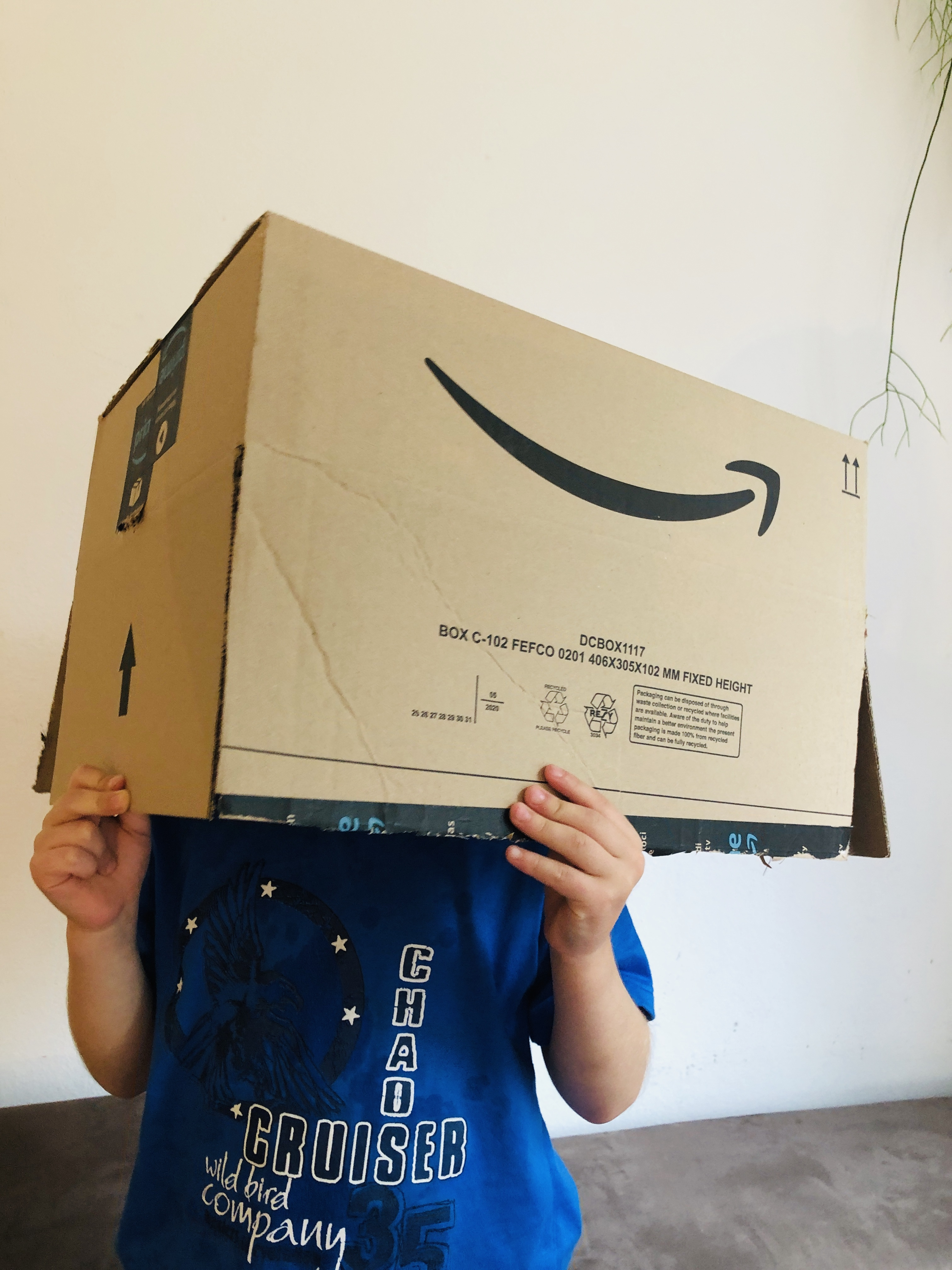 Kid holding an old cardboard box for upcycling