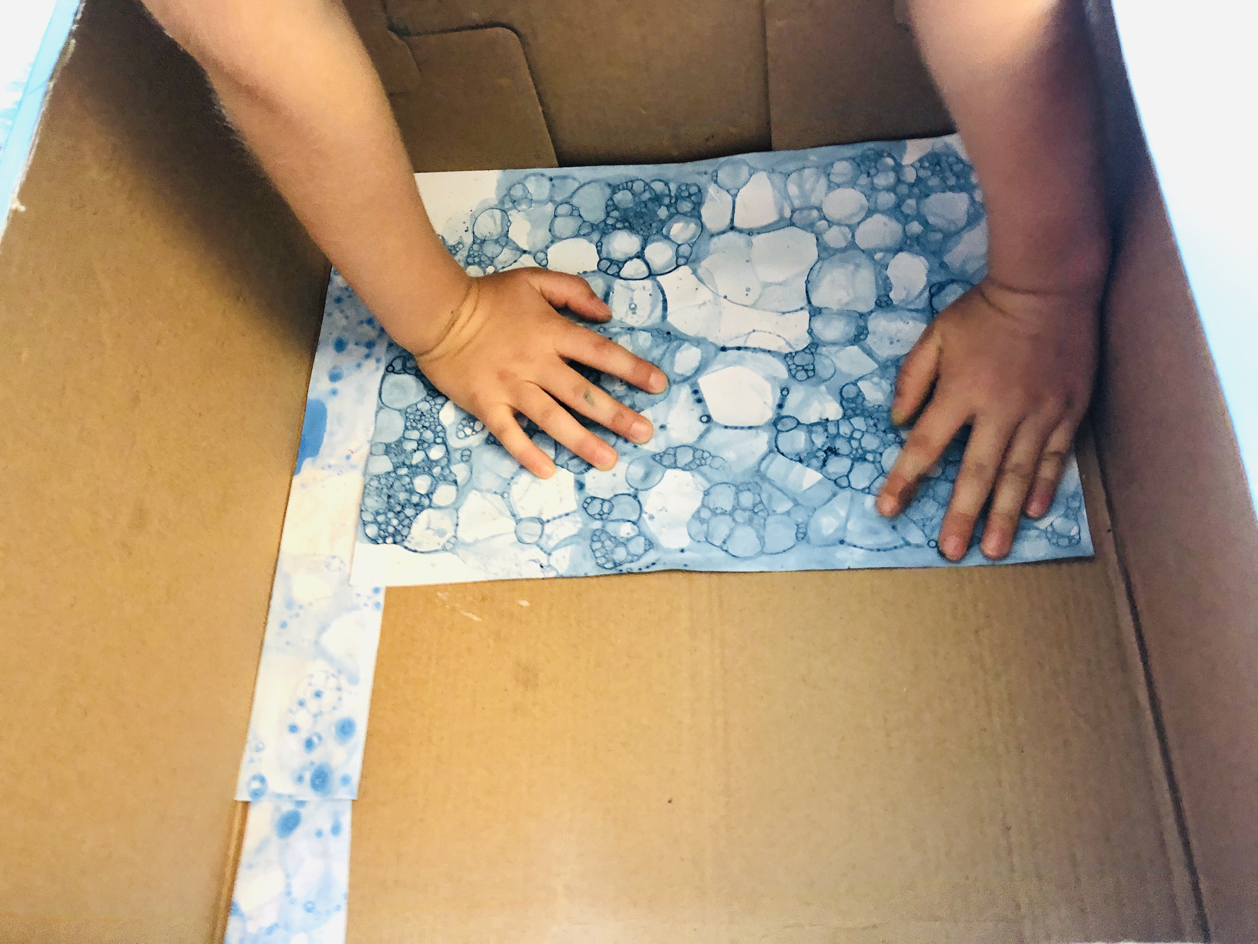putting bubble prints in the box