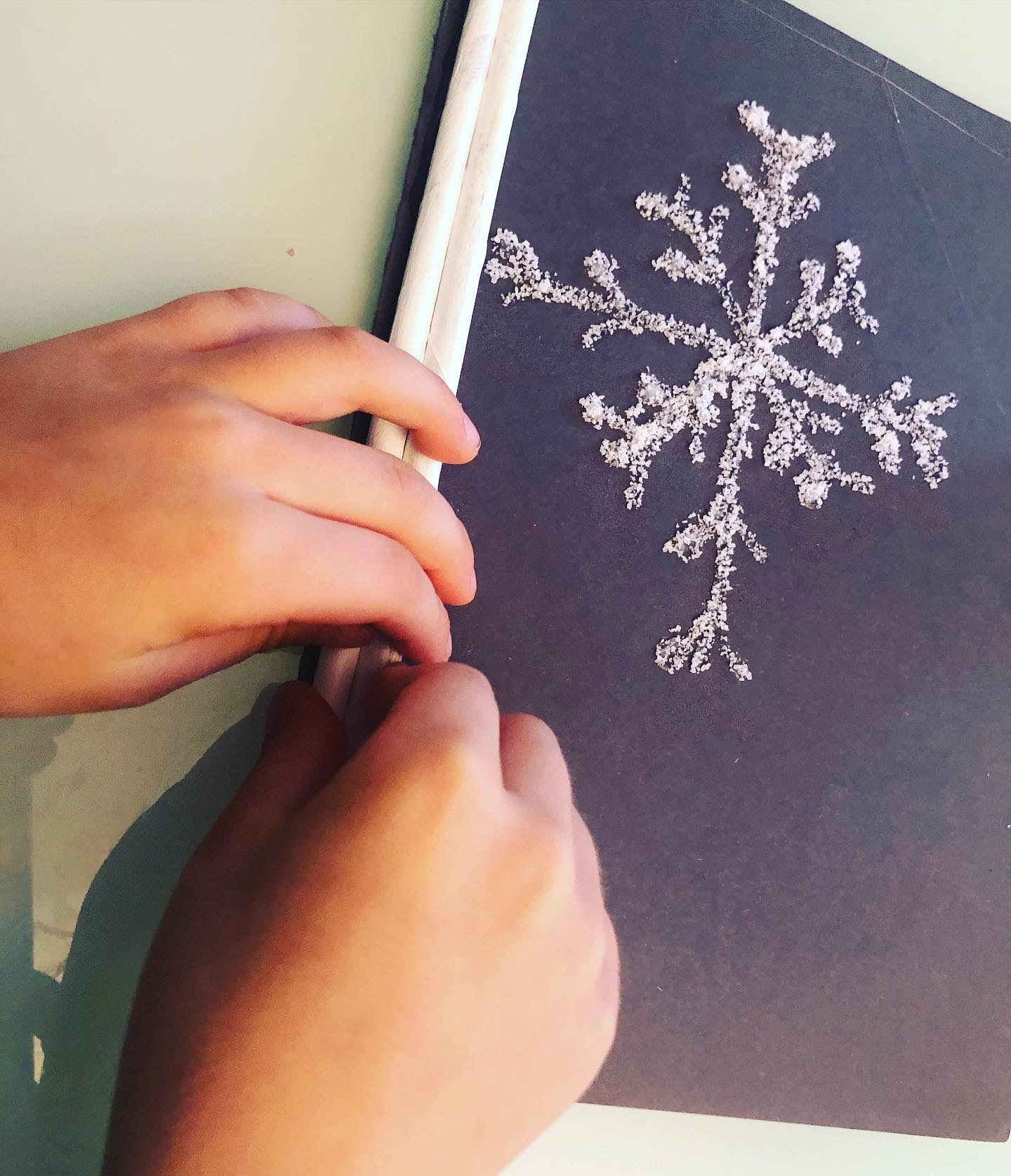 making a frame for the snowflake pictures