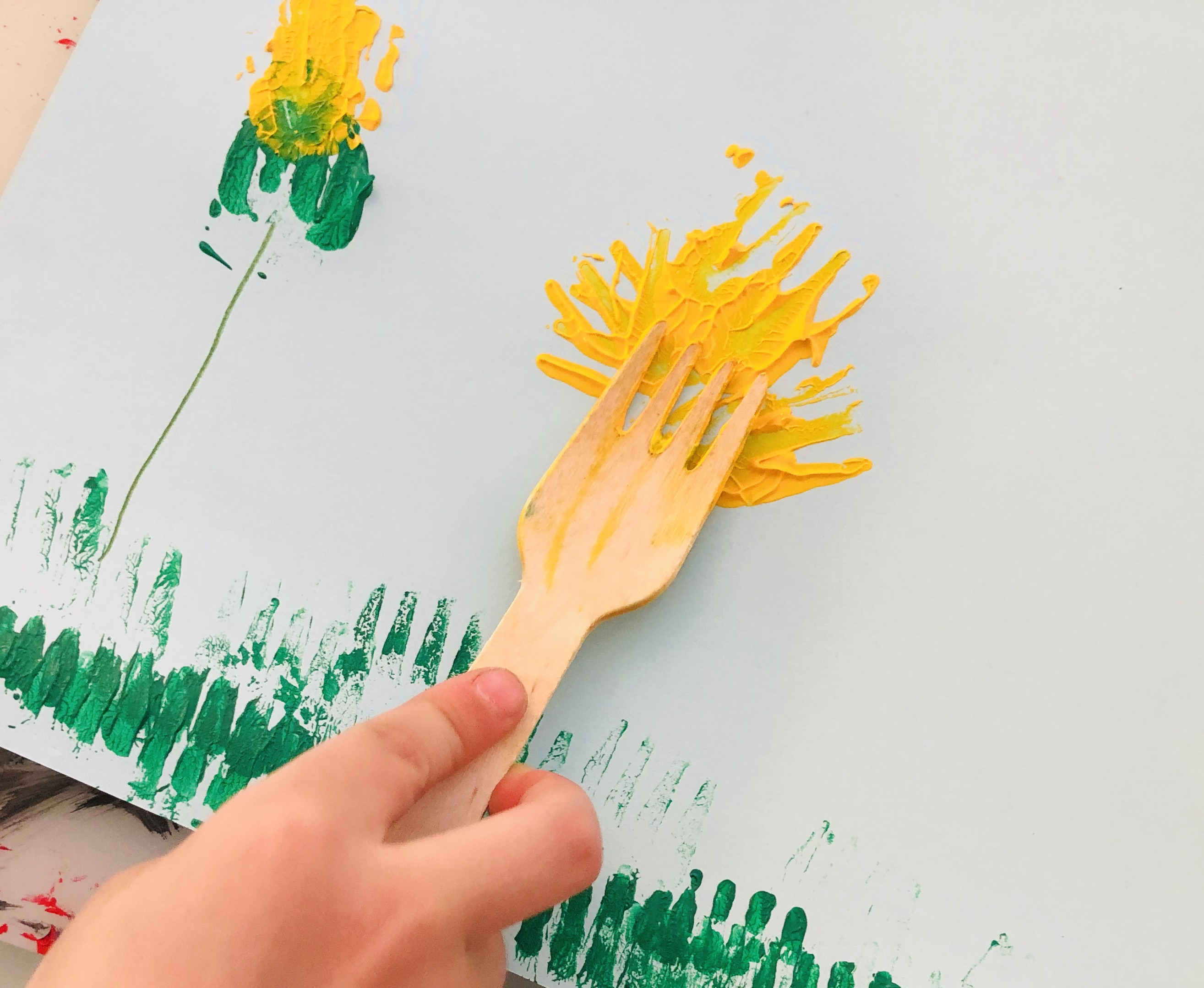 kid drawing stage 3 of dandelion´s life cycle